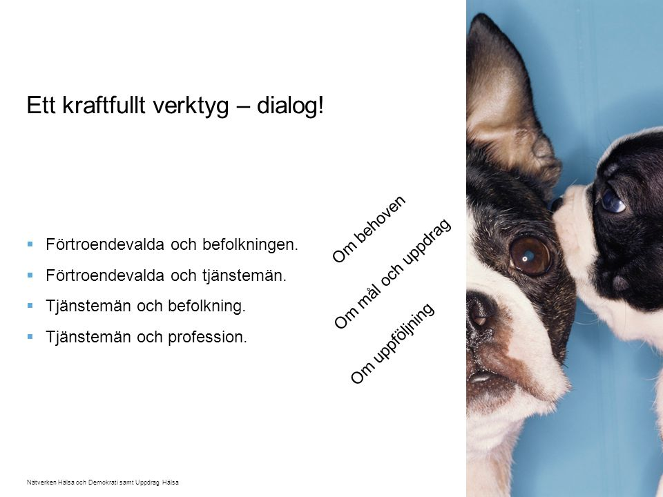 Att diskutera  Vilka behöver ni föra en dialog med när det gäller:  Behovsanalysen.