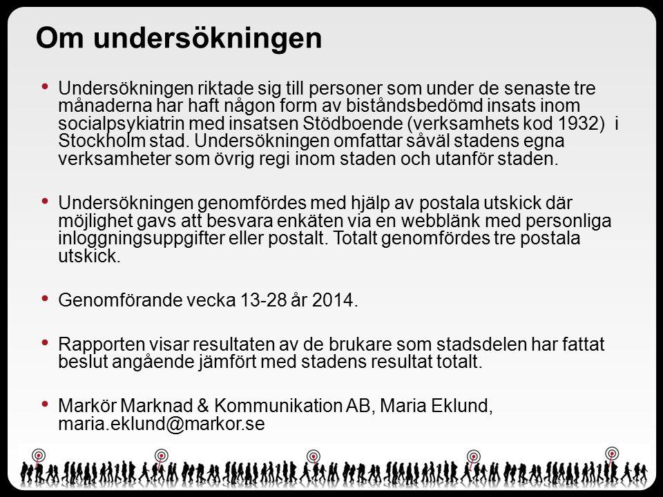 Om undersökningen Undersökningen riktade sig till personer som under de senaste tre månaderna har haft någon form av biståndsbedömd insats inom socialpsykiatrin med insatsen Stödboende (verksamhets kod 1932) i Stockholm stad.
