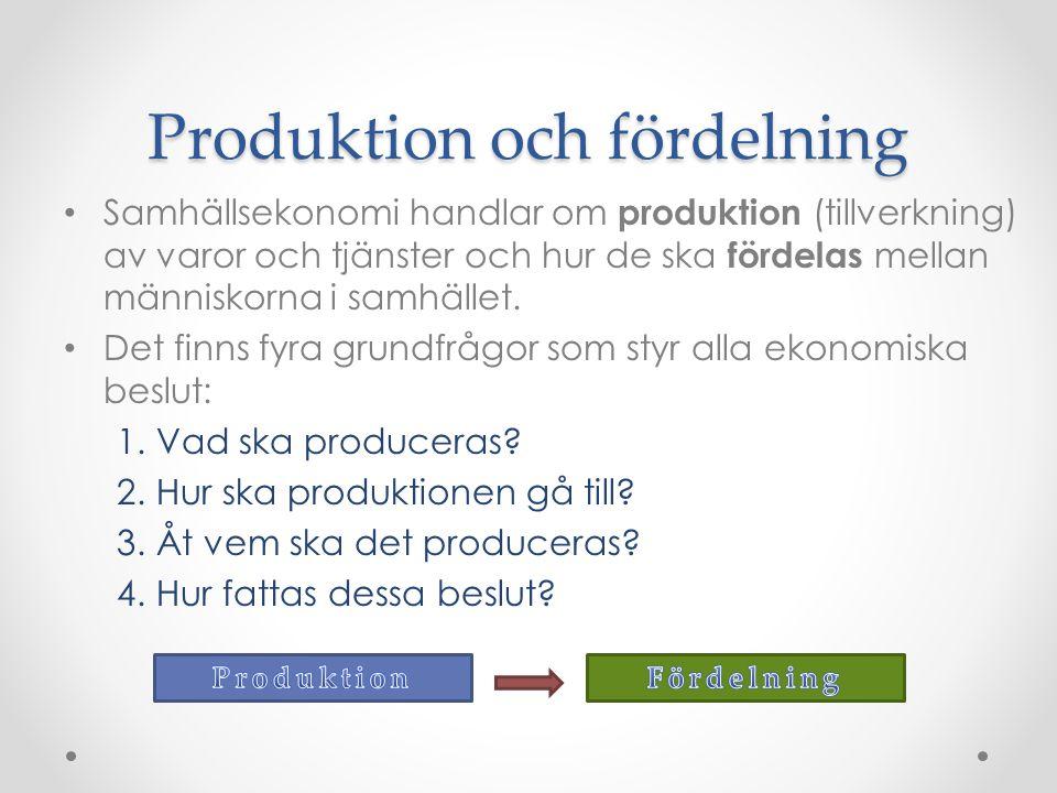 Produktion och fördelning Samhällsekonomi handlar om produktion (tillverkning) av varor och tjänster och hur de ska fördelas mellan människorna i samhället.