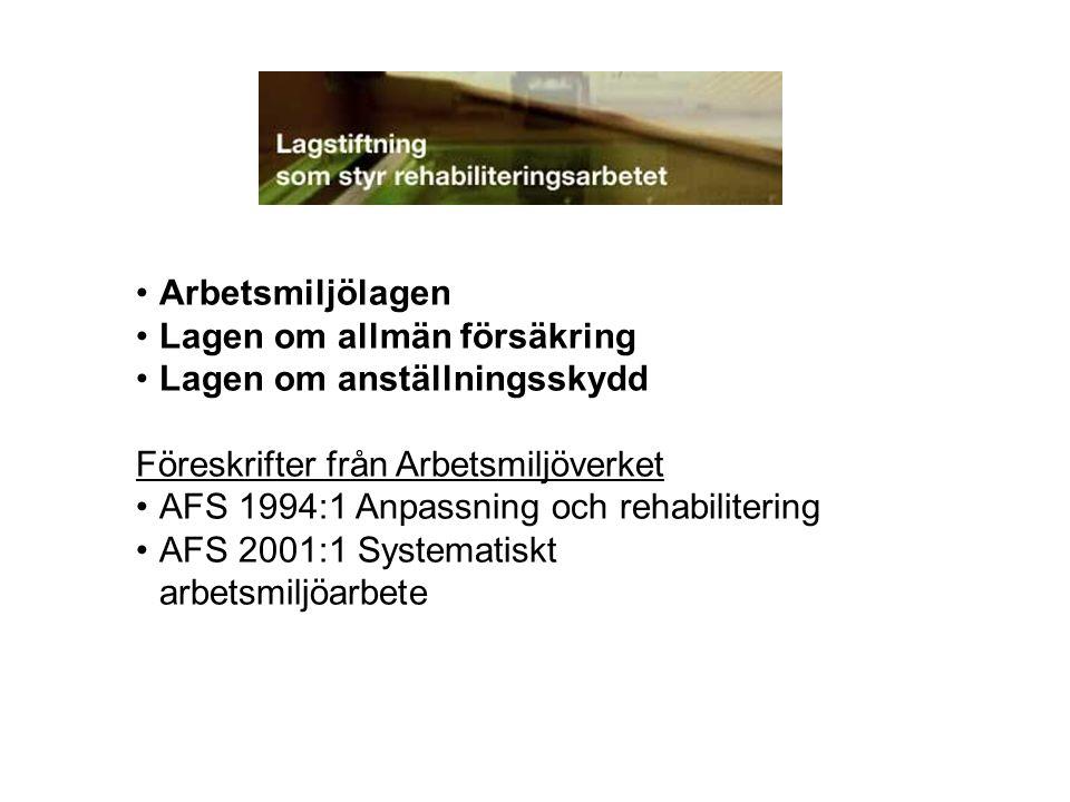 Arbetsmiljölagen Lagen om allmän försäkring Lagen om anställningsskydd Föreskrifter från Arbetsmiljöverket AFS 1994:1 Anpassning och rehabilitering AF