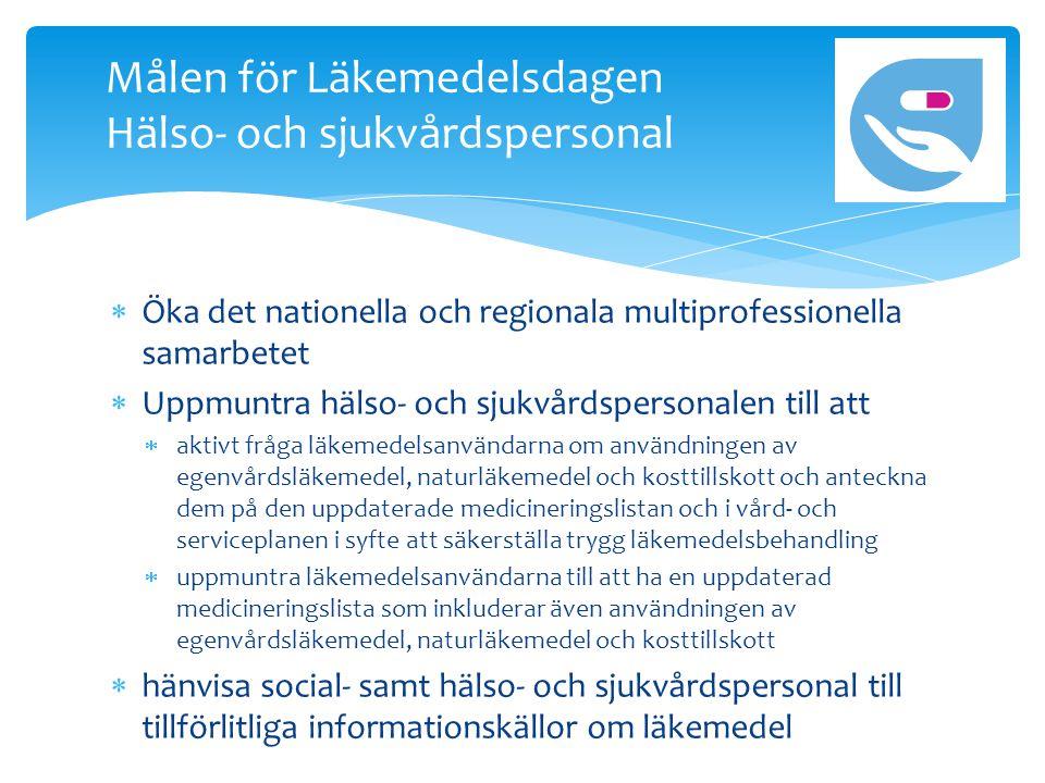  Öka det nationella och regionala multiprofessionella samarbetet  Uppmuntra hälso- och sjukvårdspersonalen till att  aktivt fråga läkemedelsanvändarna om användningen av egenvårdsläkemedel, naturläkemedel och kosttillskott och anteckna dem på den uppdaterade medicineringslistan och i vård- och serviceplanen i syfte att säkerställa trygg läkemedelsbehandling  uppmuntra läkemedelsanvändarna till att ha en uppdaterad medicineringslista som inkluderar även användningen av egenvårdsläkemedel, naturläkemedel och kosttillskott  hänvisa social- samt hälso- och sjukvårdspersonal till tillförlitliga informationskällor om läkemedel Målen för Läkemedelsdagen Hälso- och sjukvårdspersonal