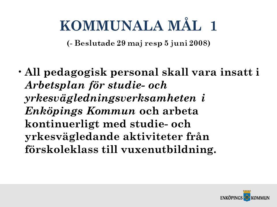 KOMMUNALA MÅL 1 (- Beslutade 29 maj resp 5 juni 2008) All pedagogisk personal skall vara insatt i Arbetsplan för studie- och yrkesvägledningsverksamhe