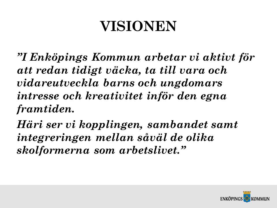 """VISIONEN """"I Enköpings Kommun arbetar vi aktivt för att redan tidigt väcka, ta till vara och vidareutveckla barns och ungdomars intresse och kreativite"""