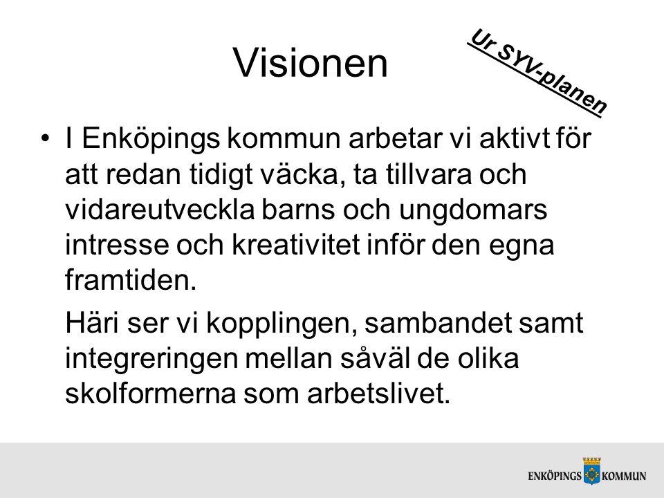 Visionen I Enköpings kommun arbetar vi aktivt för att redan tidigt väcka, ta tillvara och vidareutveckla barns och ungdomars intresse och kreativitet