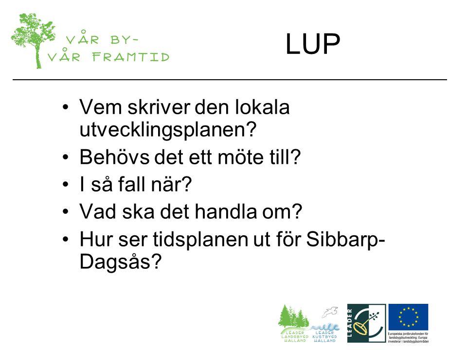 LUP Vem skriver den lokala utvecklingsplanen. Behövs det ett möte till.