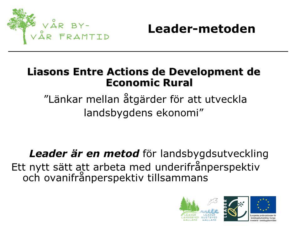 Leader-metoden Liasons Entre Actions de Development de Economic Rural Länkar mellan åtgärder för att utveckla landsbygdens ekonomi Leader är en metod för landsbygdsutveckling Ett nytt sätt att arbeta med underifrånperspektiv och ovanifrånperspektiv tillsammans