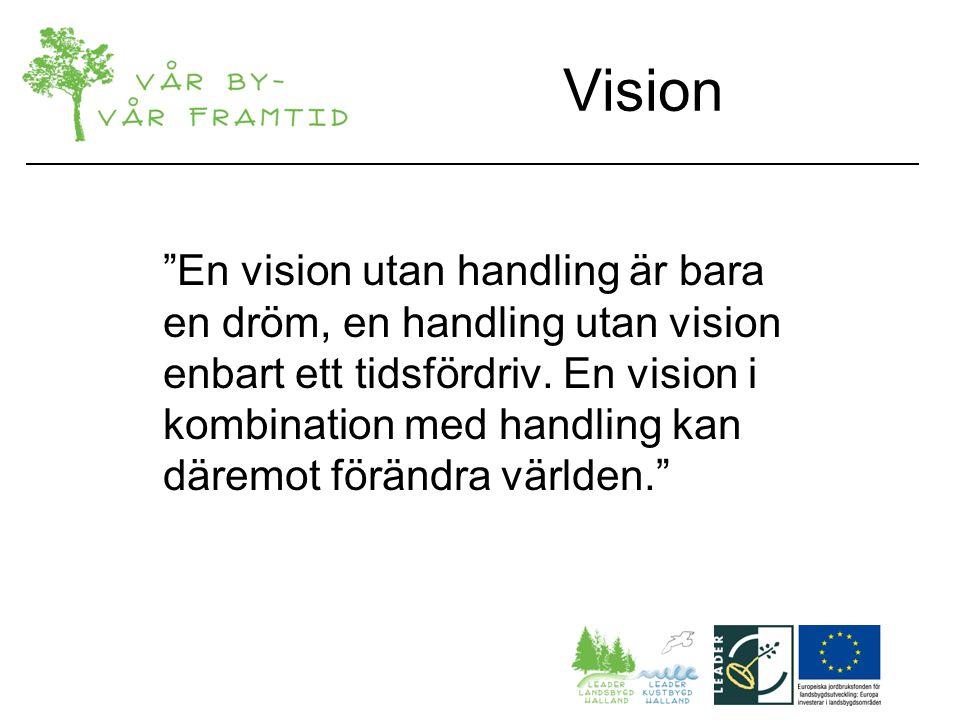 Vision En vision utan handling är bara en dröm, en handling utan vision enbart ett tidsfördriv.