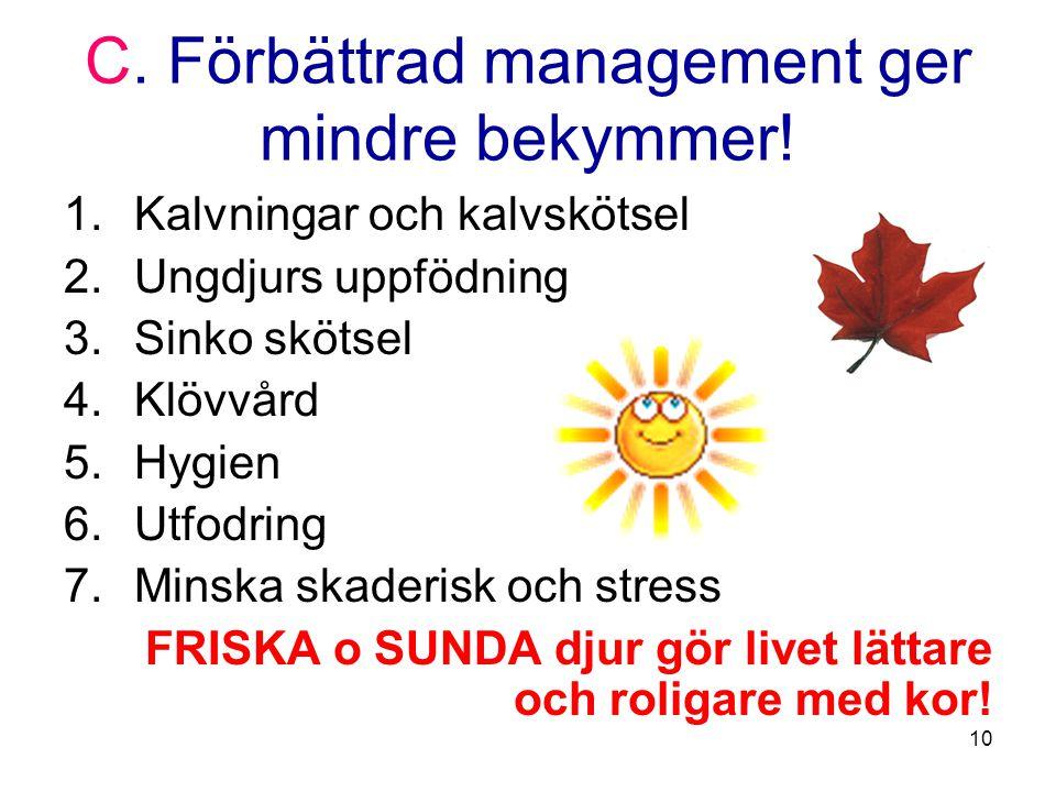 10 C. Förbättrad management ger mindre bekymmer.