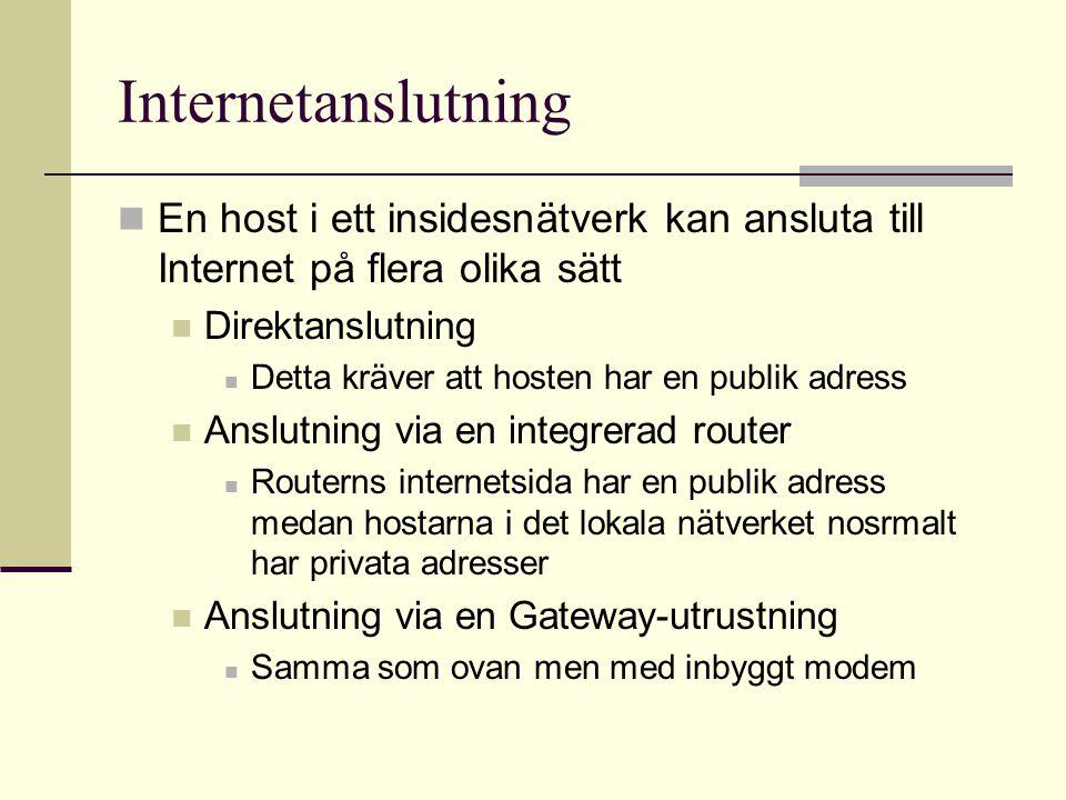Network Address Translation Network Address Translation (NAT) En host i det privata nätverket sänder ett meddelande med sin privata IP-adress som avsändare Routern översätter (NAT) denna privata IP- adress till sin egen publika IP-adress med ett specifikt portnummer Översättningen sker på motsatt sätt när/om destinationens host svarar