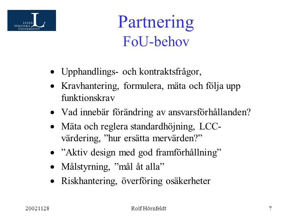 20021128Rolf Hörnfeldt7  Upphandlings- och kontraktsfrågor,  Kravhantering, formulera, mäta och följa upp funktionskrav  Vad innebär förändring av ansvarsförhållanden.