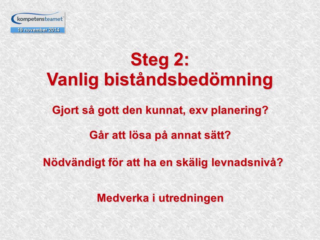Steg 2: Vanlig biståndsbedömning Gjort så gott den kunnat, exv planering? Går att lösa på annat sätt? Nödvändigt för att ha en skälig levnadsnivå? Med
