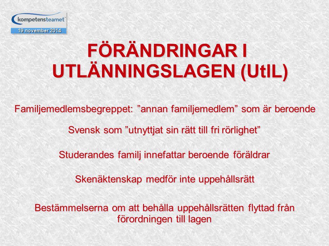 """FÖRÄNDRINGAR I UTLÄNNINGSLAGEN (UtlL) FÖRÄNDRINGAR I UTLÄNNINGSLAGEN (UtlL) Familjemedlemsbegreppet: """"annan familjemedlem"""" som är beroende Svensk som"""