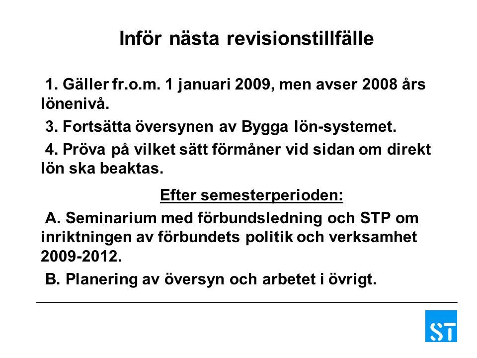 Inför nästa revisionstillfälle 1.Gäller fr.o.m. 1 januari 2009, men avser 2008 års lönenivå.