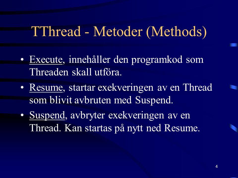 4 TThread - Metoder (Methods) Execute, innehåller den programkod som Threaden skall utföra.