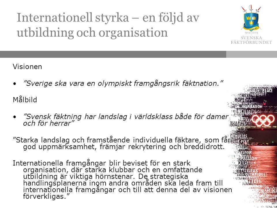 Internationell styrka – en följd av utbildning och organisation Visionen Sverige ska vara en olympiskt framgångsrik fäktnation. Målbild Svensk fäktning har landslag i världsklass både för damer och för herrar Starka landslag och framstående individuella fäktare, som får god uppmärksamhet, främjar rekrytering och breddidrott.