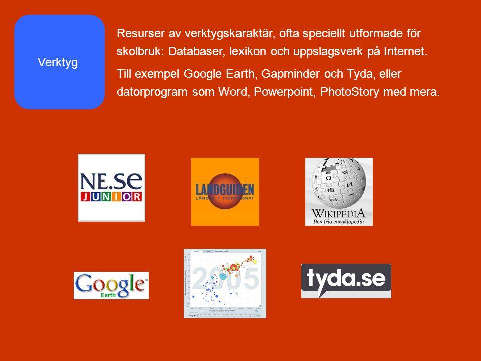 Resurser av verktygskaraktär, ofta speciellt utformade för skolbruk: Databaser, lexikon och uppslagsverk på Internet.