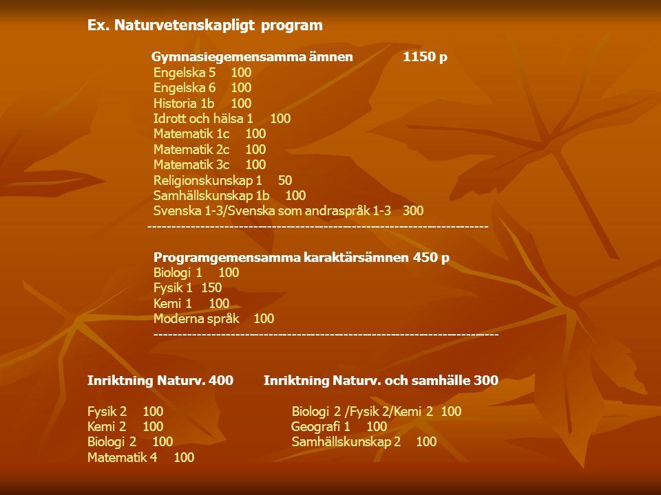 Ex. Naturvetenskapligt program Gymnasiegemensamma ämnen 1150 p Engelska 5 100 Engelska 6 100 Historia 1b 100 Idrott och hälsa 1 100 Matematik 1c 100 M
