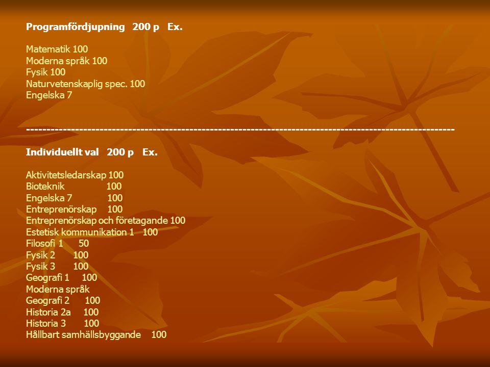 Programfördjupning 200 p Ex. Matematik 100 Moderna språk 100 Fysik 100 Naturvetenskaplig spec.
