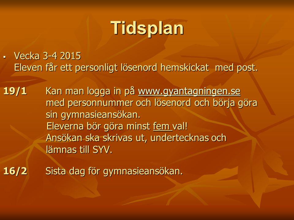 Tidsplan  Vecka 3-4 2015 Eleven får ett personligt lösenord hemskickat med post.