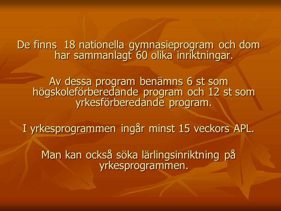 De finns 18 nationella gymnasieprogram och dom har sammanlagt 60 olika inriktningar.