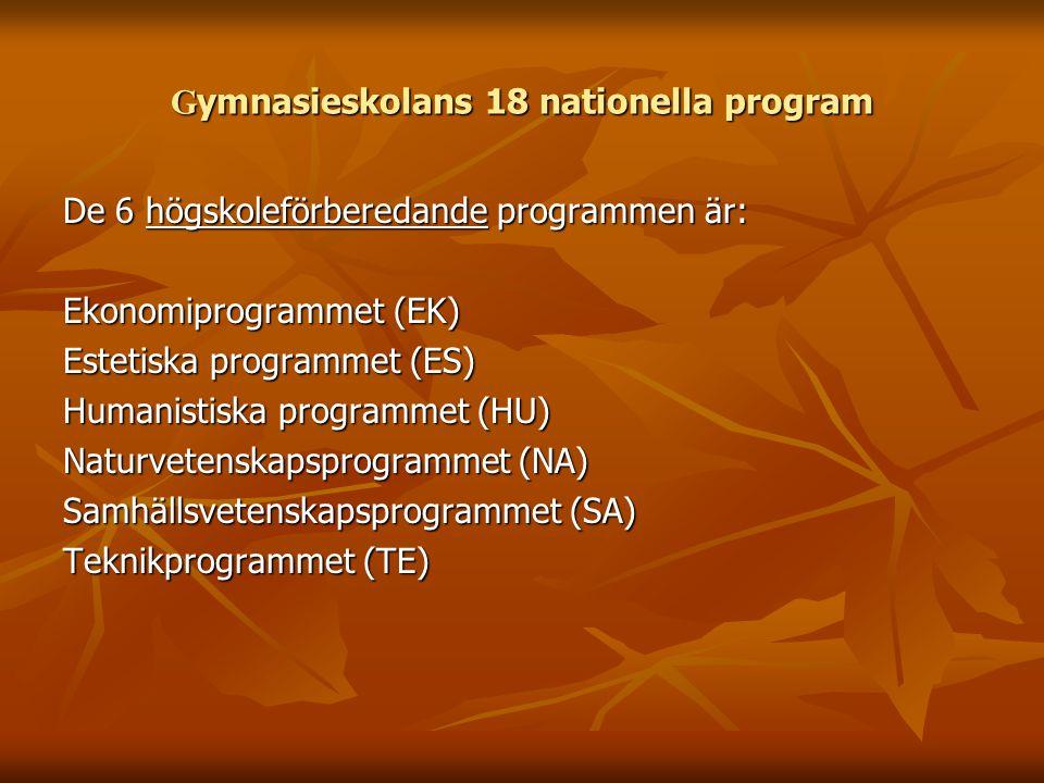 G ymnasieskolans 18 nationella program De 6 högskoleförberedande programmen är: Ekonomiprogrammet (EK) Estetiska programmet (ES) Humanistiska programmet (HU) Naturvetenskapsprogrammet (NA) Samhällsvetenskapsprogrammet (SA) Teknikprogrammet (TE)