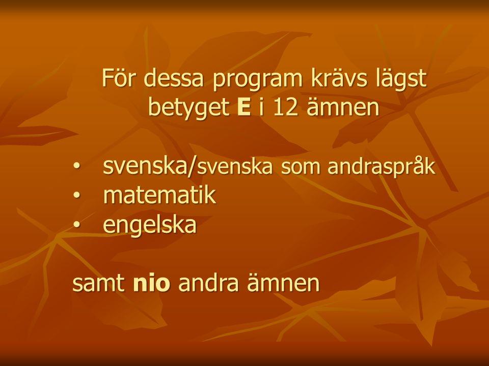 För dessa program krävs lägst betyget E i 12 ämnen svenska/ svenska som andraspråk svenska/ svenska som andraspråk matematik matematik engelska engelska samt nio andra ämnen