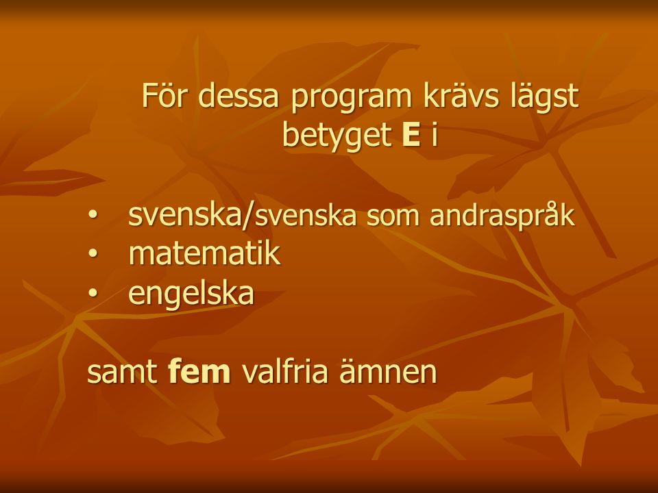 För dessa program krävs lägst betyget E i svenska/ svenska som andraspråk svenska/ svenska som andraspråk matematik matematik engelska engelska samt fem valfria ämnen