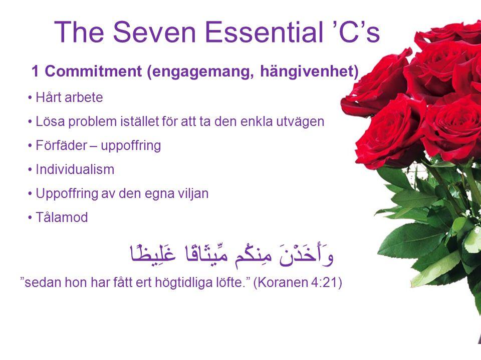 The Seven Essential 'C's 1 Commitment (engagemang, hängivenhet) Hårt arbete Lösa problem istället för att ta den enkla utvägen Förfäder – uppoffring I