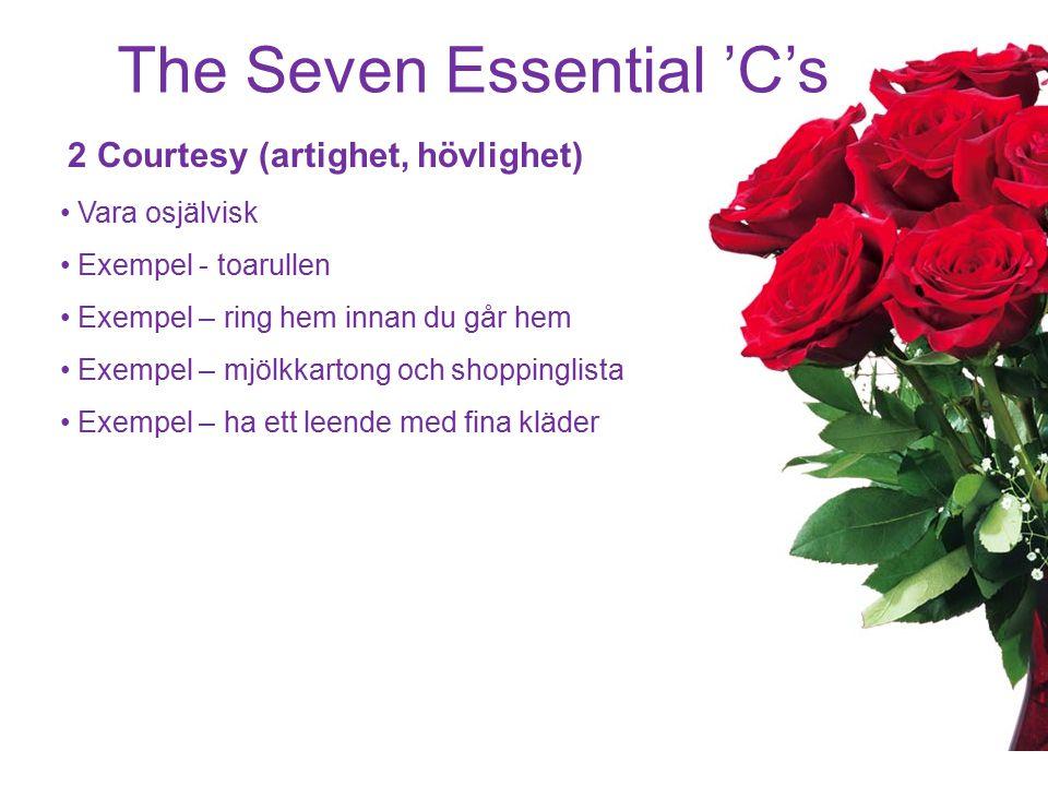 The Seven Essential 'C's 3 Communication (kommunikation) Aktivt lyssnande Försöka förstå den andre Verbala 20%, kroppen 80% Upprepa vad din partner har sagt utan att döma Klarhet, ta reda på om din förståelse är korrekt Empati, sätt dig i samma situation, visa att du bryr dig vad tycker du om… kan du vara snäll och hämta skulle du kunna… vad säger du om vi gör på… Stå upp.
