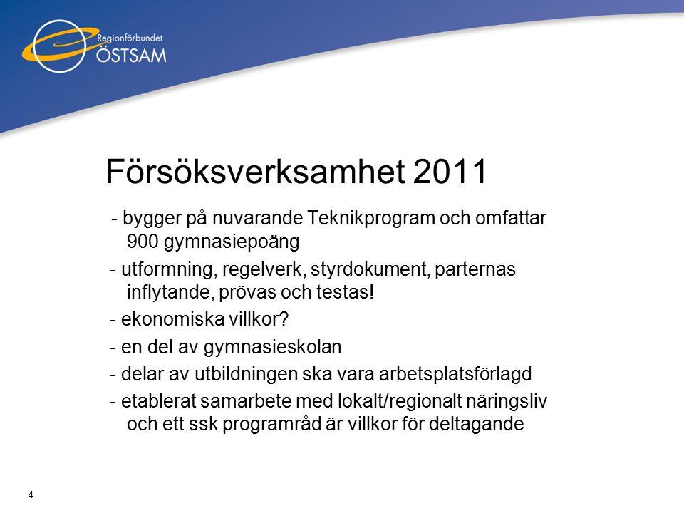 4 Försöksverksamhet 2011 - bygger på nuvarande Teknikprogram och omfattar 900 gymnasiepoäng - utformning, regelverk, styrdokument, parternas inflytande, prövas och testas.