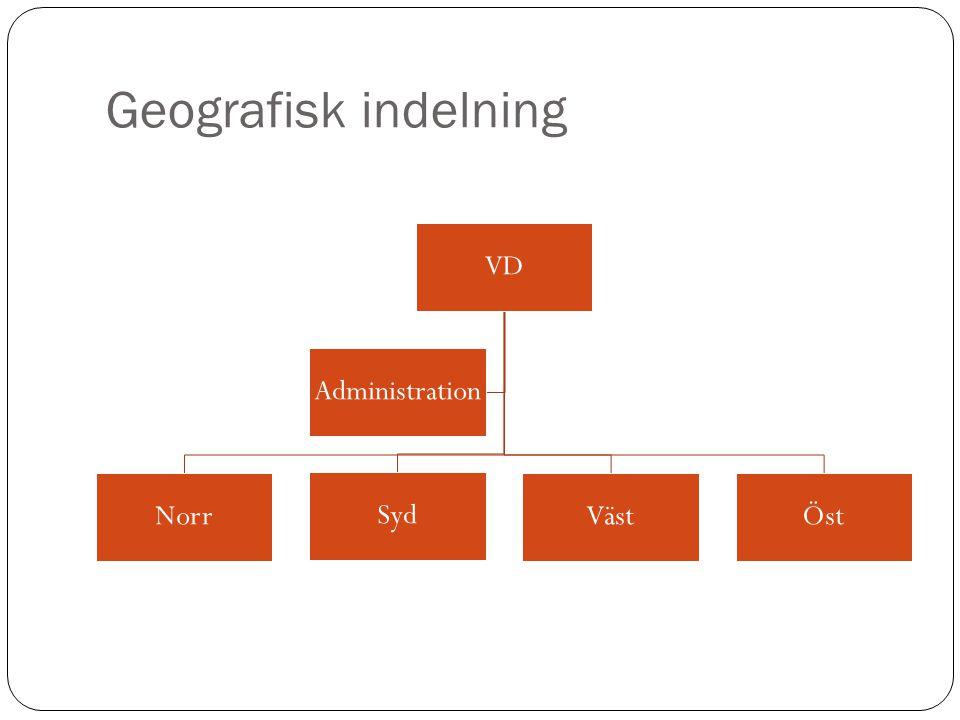 Geografisk indelning VD Norr Syd VästÖst Administration