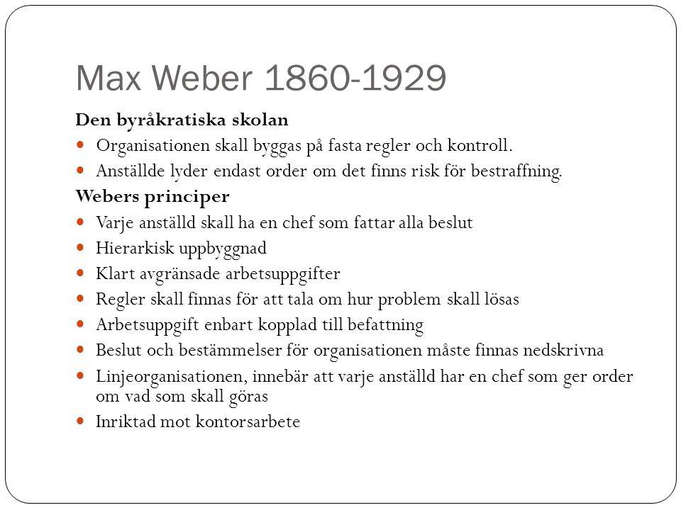Max Weber 1860-1929 Den byråkratiska skolan Organisationen skall byggas på fasta regler och kontroll. Anställde lyder endast order om det finns risk f