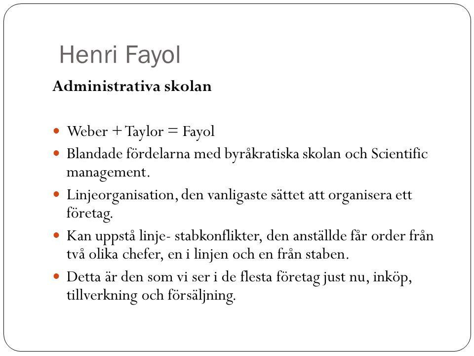 Henri Fayol Administrativa skolan Weber + Taylor = Fayol Blandade fördelarna med byråkratiska skolan och Scientific management. Linjeorganisation, den