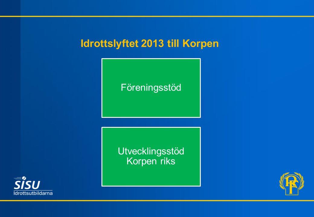Idrottslyftet 2013 till Korpen Föreningsstöd Utvecklingsstöd Korpen riks