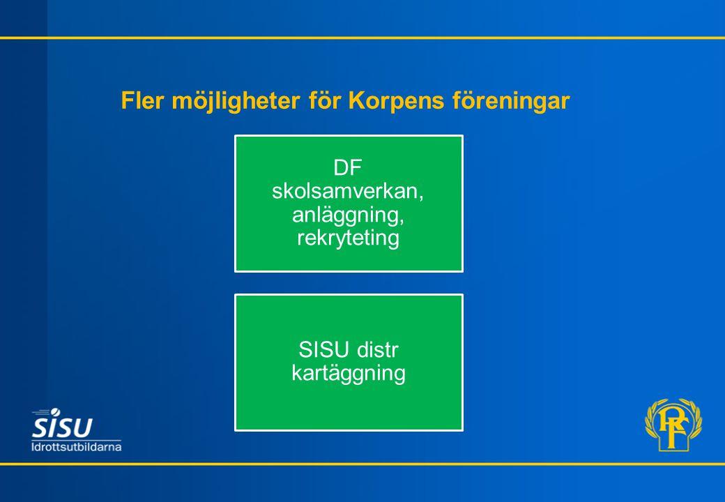 Fler möjligheter för Korpens föreningar DF skolsamverkan, anläggning, rekryteting SISU distr kartäggning