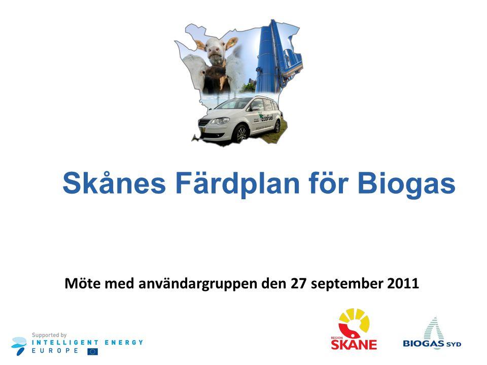 Skånes Färdplan för Biogas Möte med användargruppen den 27 september 2011
