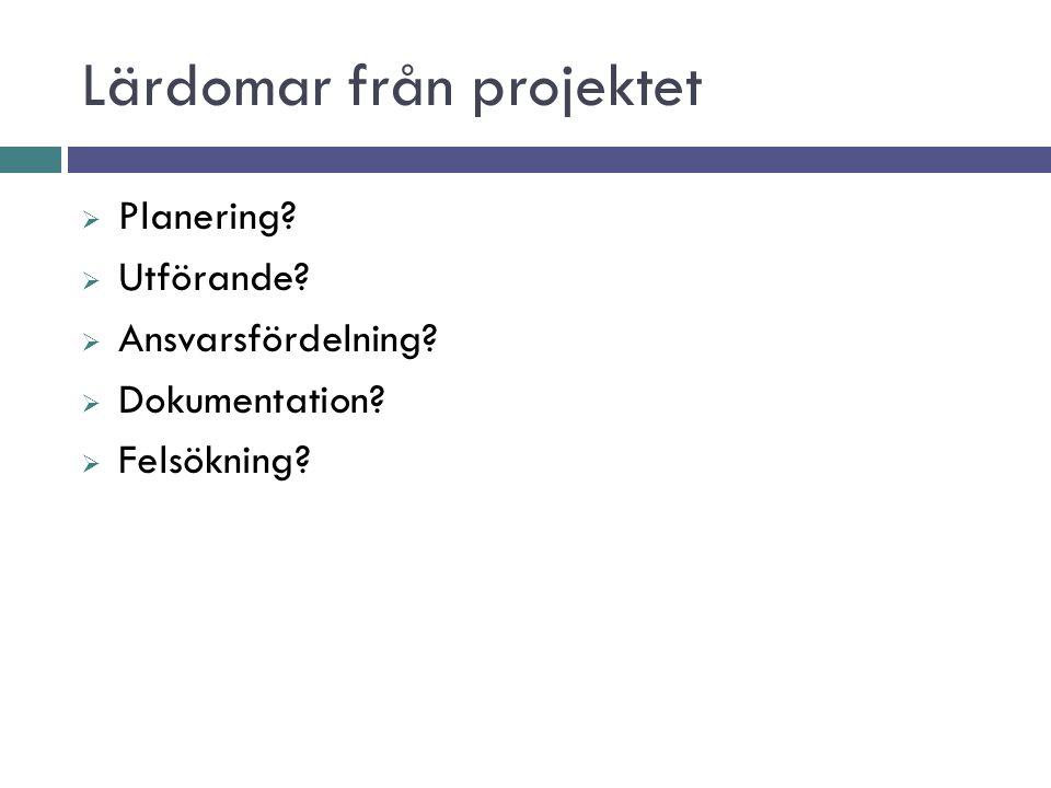 Lärdomar från projektet  Planering.  Utförande.