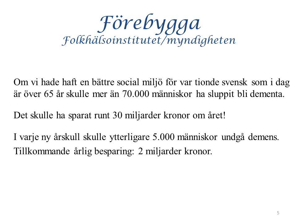 Förebygga Folkhälsoinstitutet/myndigheten Om vi hade haft en bättre social miljö för var tionde svensk som i dag är över 65 år skulle mer än 70.000 människor ha sluppit bli dementa.