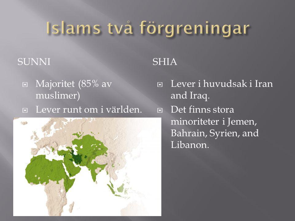 SUNNISHIA  Majoritet (85% av muslimer)  Lever runt om i världen.  Lever i huvudsak i Iran and Iraq.  Det finns stora minoriteter i Jemen, Bahrain,