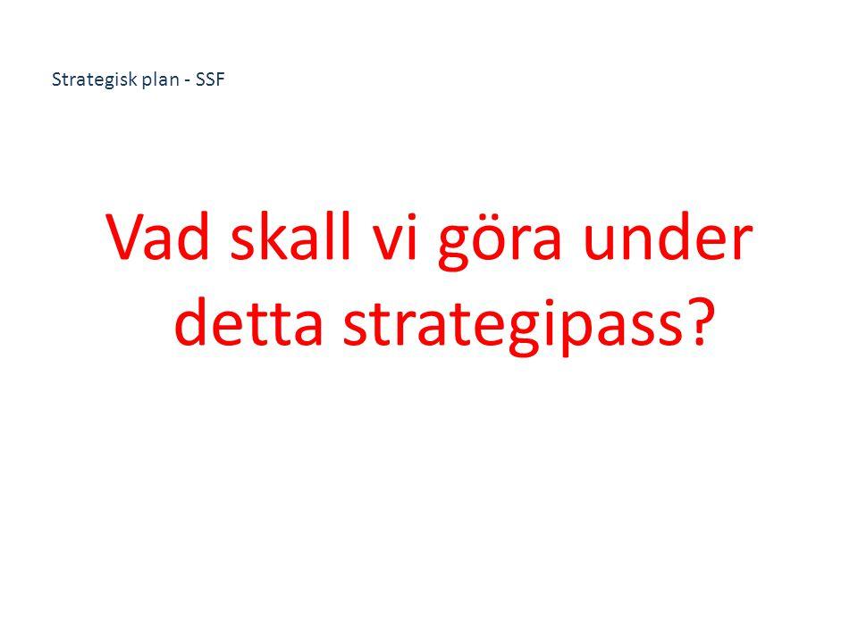 Strategisk plan - SSF Vad skall vi göra under detta strategipass?
