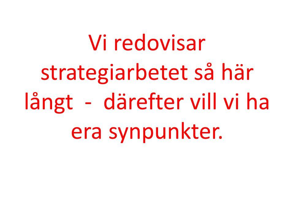 1.Varför en strategisk plan (avklarad) 2. Strategiprocessen från A – Ö 3.