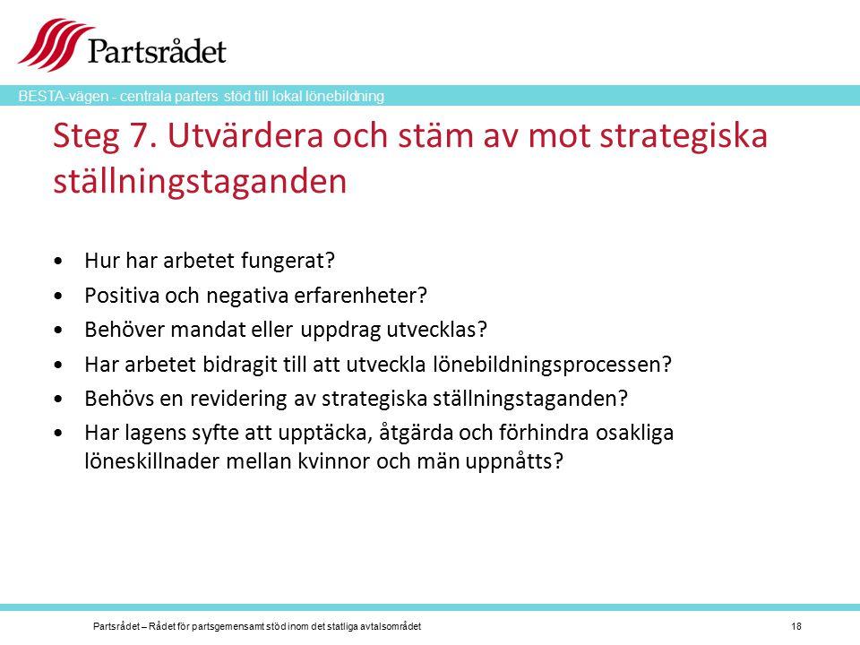 BESTA-vägen - centrala parters stöd till lokal lönebildning Steg 7. Utvärdera och stäm av mot strategiska ställningstaganden Hur har arbetet fungerat?