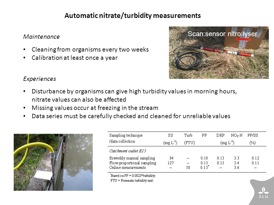 Automatic nitrate/turbidity measurements Maintenance Cleaning from organisms every two weeks Calibration at least once a year Experiences Disturbance by organisms can give high turbidity values in morning hours, nitrate values can also be affected Missing values occur at freezing in the stream Data series must be carefully checked and cleaned for unreliable values Scan:sensor nitro:lyser