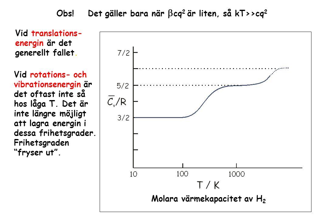Obs! Det gäller bara när  cq 2 är liten, så kT>>cq 2 Vid translations- energin är det generellt fallet. Vid rotations- och vibrationsenergin är det o