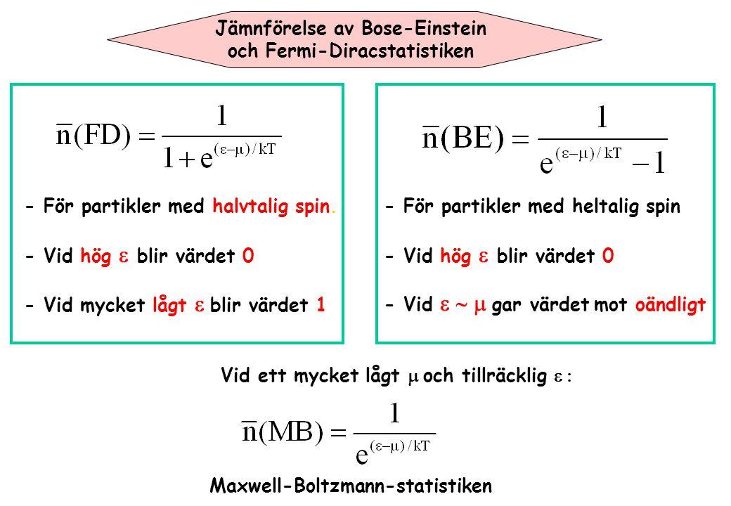 Jämnförelse av Bose-Einstein och Fermi-Diracstatistiken - För partikler med halvtalig spin. - Vid hög  blir värdet 0 - Vid mycket lågt  blir värdet