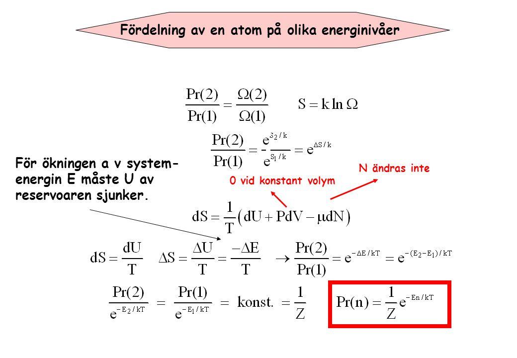 Tillståndssumma med flera atomer Om man antar 2 olika partklar som inte interagera med varandra så har man för varje tillstånd av partikel gäller för tillståndssumman: I fallet av två lika partiklar är det ingen skillnad om partikel 1 har tillstånd A oh partikel 2 har tillstand B eller tvärtom.