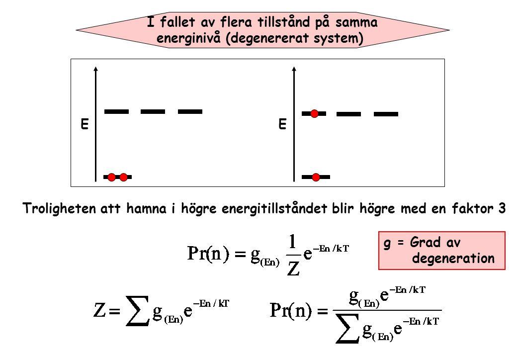 I fallet av flera tillstånd på samma energinivå (degenererat system) EE Troligheten att hamna i högre energitillståndet blir högre med en faktor 3 g =
