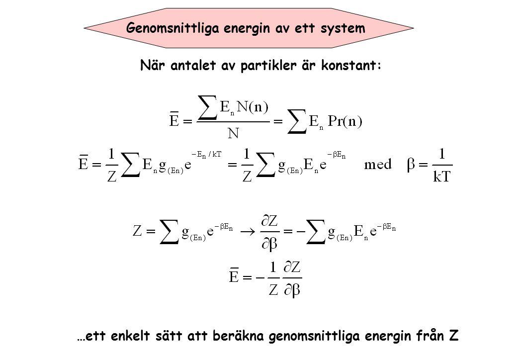 Genomsnittliga energin av ett system …ett enkelt sätt att beräkna genomsnittliga energin från Z När antalet av partikler är konstant: