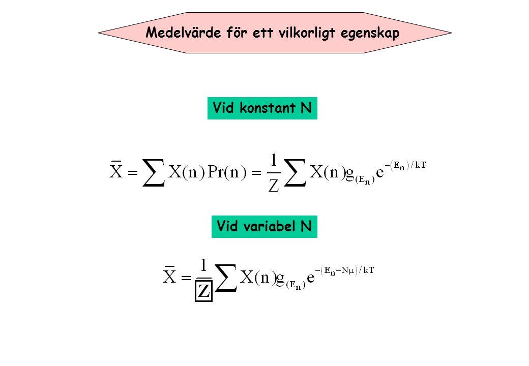 Genomsnittliga antalet partikler i ett öppet system När antalet av partikler är inte konstant änvänds stora tillståndssumman: g=1 vid alla energinivåer