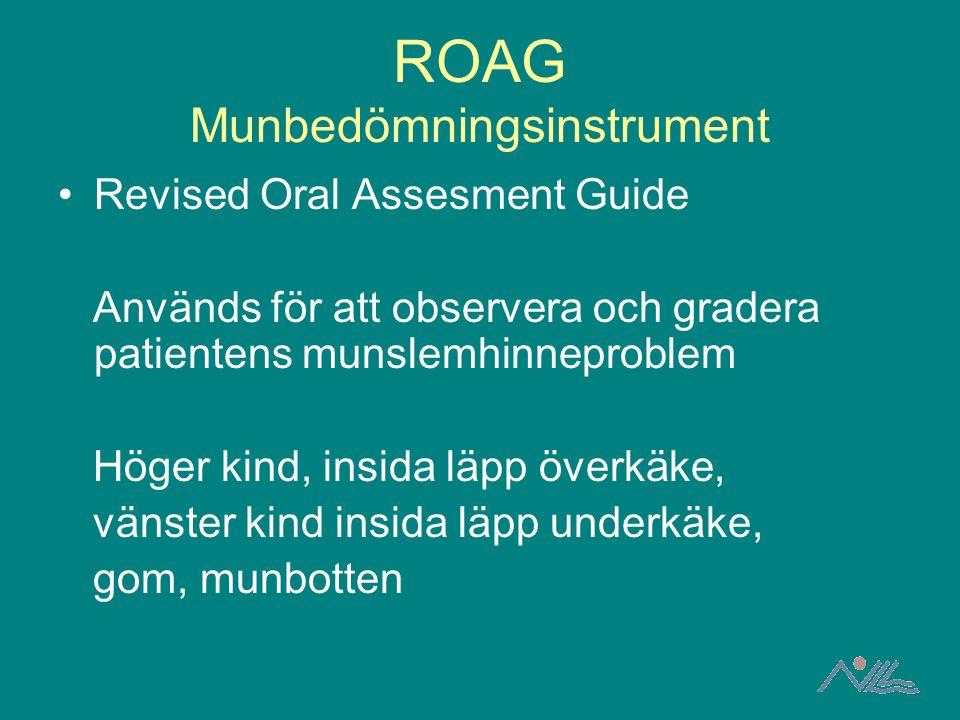 ROAG Munbedömningsinstrument Revised Oral Assesment Guide Används för att observera och gradera patientens munslemhinneproblem Höger kind, insida läpp